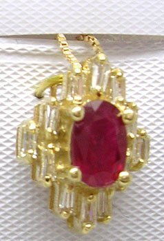 1107: 14KY Ruby Oval .20ct Diamond Necklace