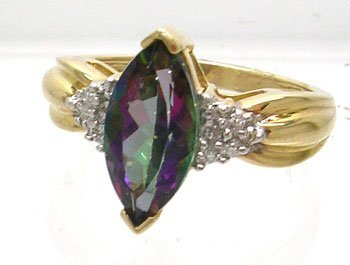 1116: 10KY 4ct Mystic Topaz marquise .04ct Diamond ring