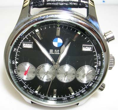 1119C: BMW black sub dial 4 silver chrono black leather