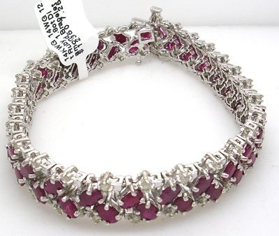 1139: 14WG 16.8ct Ruby 1.8ct Diamond Bracelet 24g
