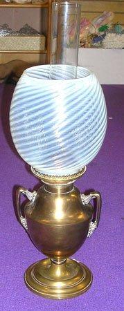 11000: Bradley & Hubbard Brass Kerosene Lamp