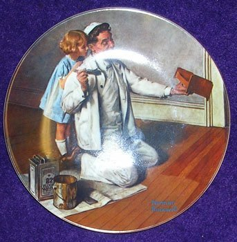 12008: Porcelain Norman Rockwell The Painter Plate c.19
