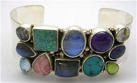750: Sterling Silver Multi Gem 2 row Cuff Bracelet
