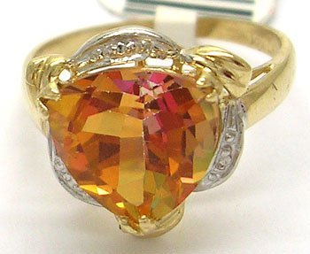 900: 14KY 3ct Twilight Topaz Trillion Diamond Ring