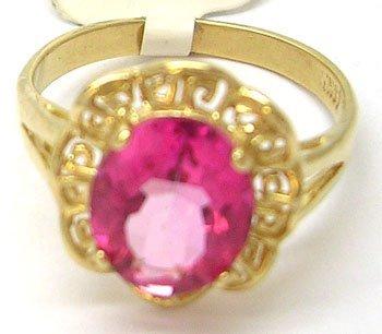 901: 14KY Pink Topaz Oval Aztec Ring