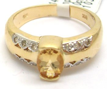 902: 14KY .86ct Imperial Topaz .10cttw Diamond Ring