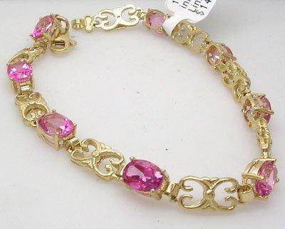 902A: 14KY 8ct Pink Topaz Fancy Link Bracelet 10gm