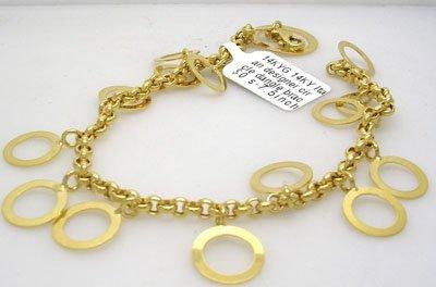 904: 14KY Italian designer circle dangle bracelet 7gram
