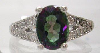 906: 14KW 1.6ct Mystic Topaz .17ct Diamond Ring