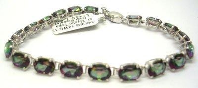 907: 14WG 17.38ct Mystic Topaz Oval Bracelet