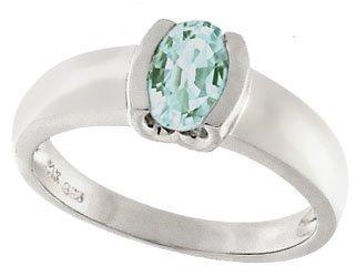 908: 14KW .75ct Aquamarine oval 1/2 bezel ring