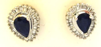 911: 14KW .60cttw Pear Blue Sapphire .50cttw Diamond