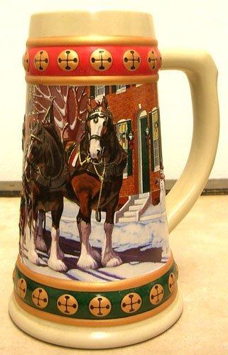 921: Budweiser Handcrafted Chrismas Holiday Stein