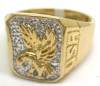 1101: 10KY diamond Eagle mans USA ring