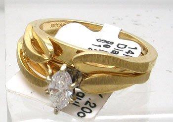 1102: 14KY .20ct Diamond Marquise Ladies Wedding Set
