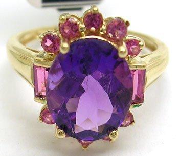 1103: 14KY 3.5ct Amethyst Pink Tourmaline Ring