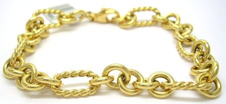 1110: 14KY Italian ribbed smooth oval link bracelet 5gr