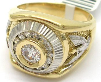 1116: 14KY CZ Round Eagle Mens Ring
