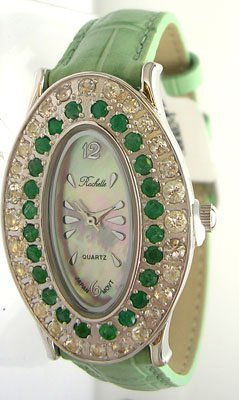 1121: SS Emerald Crystal Rochelle Leather Blue Band Wat