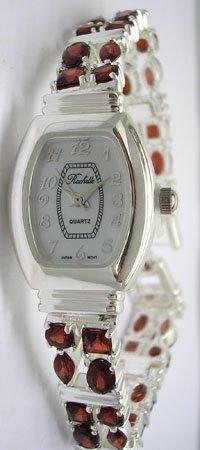 1123: SSilver 4.5cttw Garnet Rochelle Ladies Watch