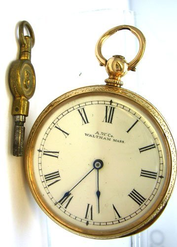 15009: 10KT KWKS A.W. Co. Waltham Pocket Watch circa.18