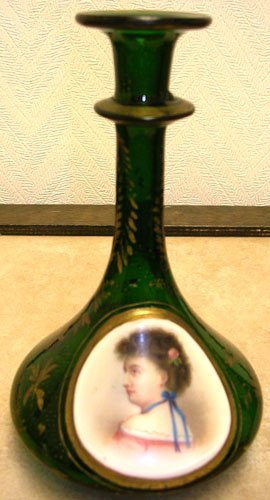 15010: Bohemian Glass Portrait Scent Bottle