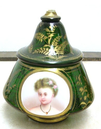 15011: Bohemian Glass Portrait Scent Jar