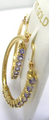 1603: 14KY .96ct Tanzanite Round Hoop Earring