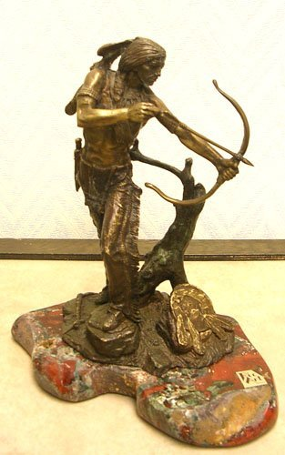 16010: Authentic Ric Art Bronze of Indian Brave Hunting