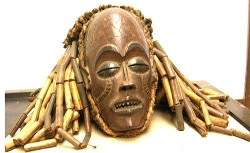 16013: African Art Chokwe Helmet Mask - Zaire