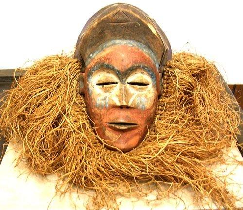 16012: African Art Kuba Helmet Mask w/ Straw - Zaire