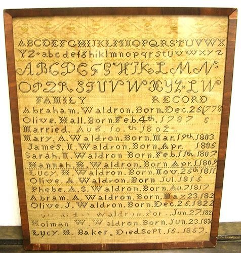 16006B: Waldron Hand Stitched Family Record Sampler c 1
