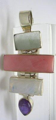 1901: Sterling Moonstone Aqua Andean Pink Opal pendant