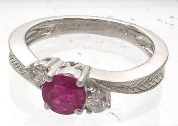 1904: 14KW .50 Ruby .14cttw Diamond Ring