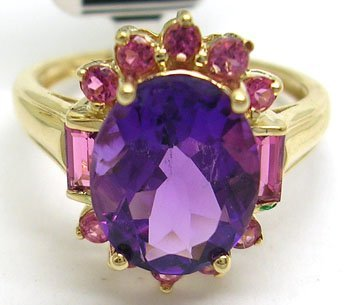 1307: 14KY 3.5ct Amethyst Pink Tourmaline Ring