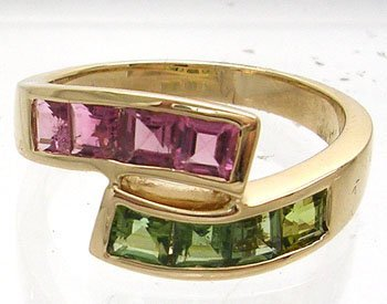605: 14YG 1.23ct pink and green Tourmaline bypass Ring