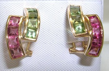 606: 14YG 2.68ct Multi-Color Tourmaline Omega Earrings