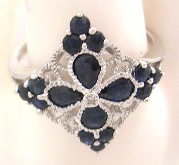612: 10KW .90ct Blue Sapphire Diamond Filigree Style Ri