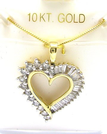 615: 10KY .95cttw Diamond Rd Bagg Heart Necklace
