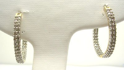 616: 10KY 1cttw Diamond inside out Hoop Earring