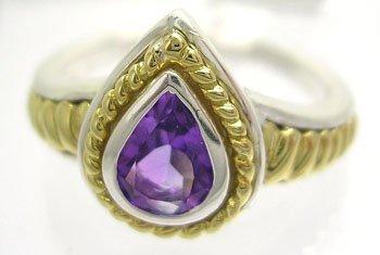 628: SSilver/18KY 1ct Amethyst Designer Ring