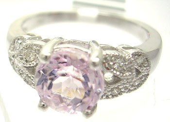 629: 14KW 1.89ct Round Kunzite Diamond Beaded Ring