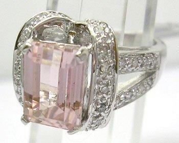 630: 14KW 2.83ct E-cut Kunzite .28ct Diamond Ribbon Rin