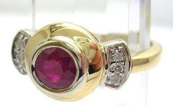 902: 14KY .55ct Round Ruby Diamond O-Bezel Ring