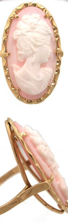 905: 14KY VINTAGE LARGE 30x15mm Cameo Oval Ring