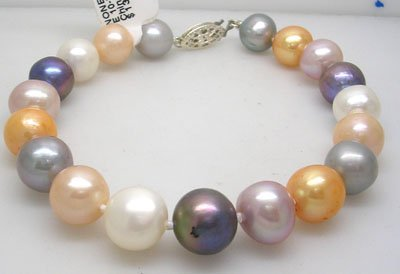 906: SSilver 10/11mm Mixed Pearl Bracelet