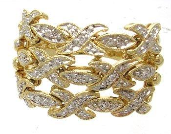 918: 14KY Diamond Flexible X/O Unique Ring