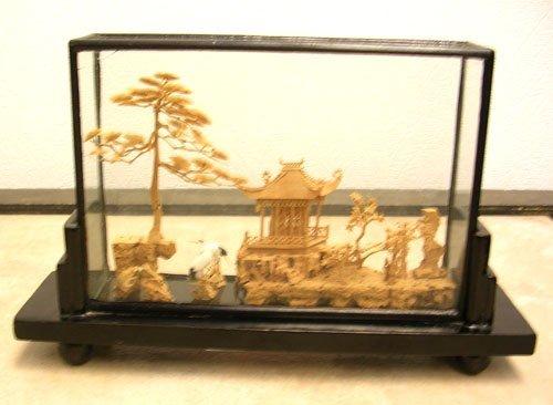 922: Glass Encase Cork Sculpture/ Gazeebo w Trees & Bir