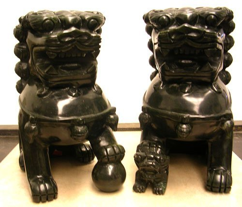 923: Magnificent Pair of Large Jade Foo Dog Statues