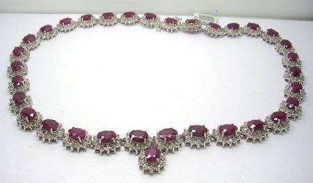 990: 14WG 45ct Ruby 10ct Diamond Necklace 65gm